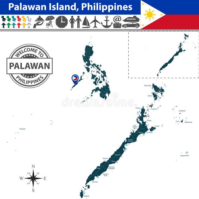 Karte von Palawan-Insel, Philippinen lizenzfreie abbildung
