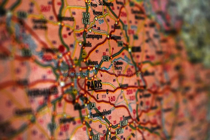 Karte von Paris Paris-Karte lizenzfreie stockfotografie