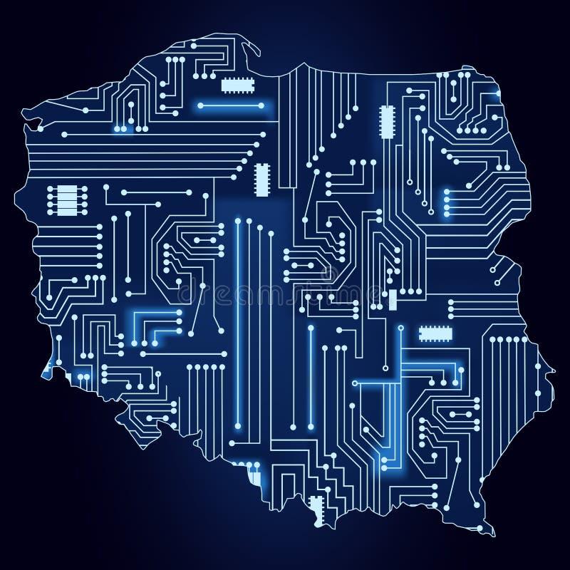 Karte Von Polen Mit Elektronischer Schaltung Vektor Abbildung ...