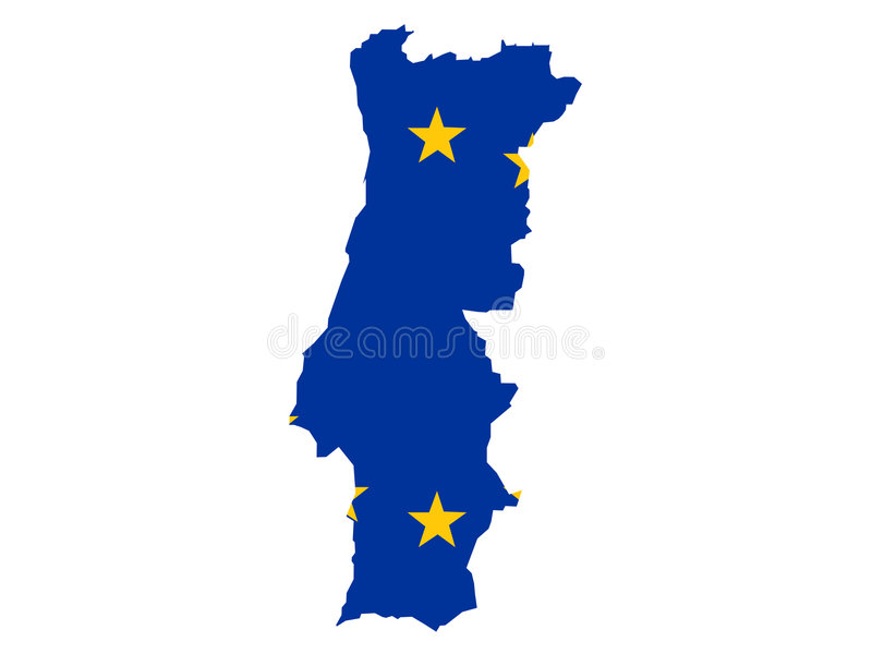Karte von Portugal lizenzfreie abbildung