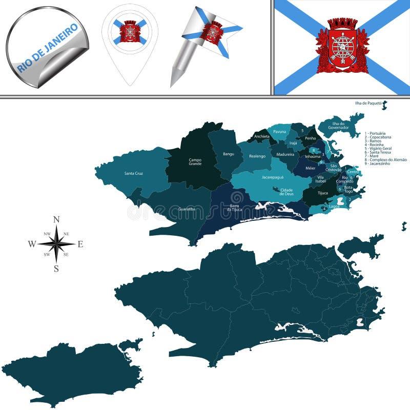 Karte von Rio de Janeiro mit Regionen vektor abbildung