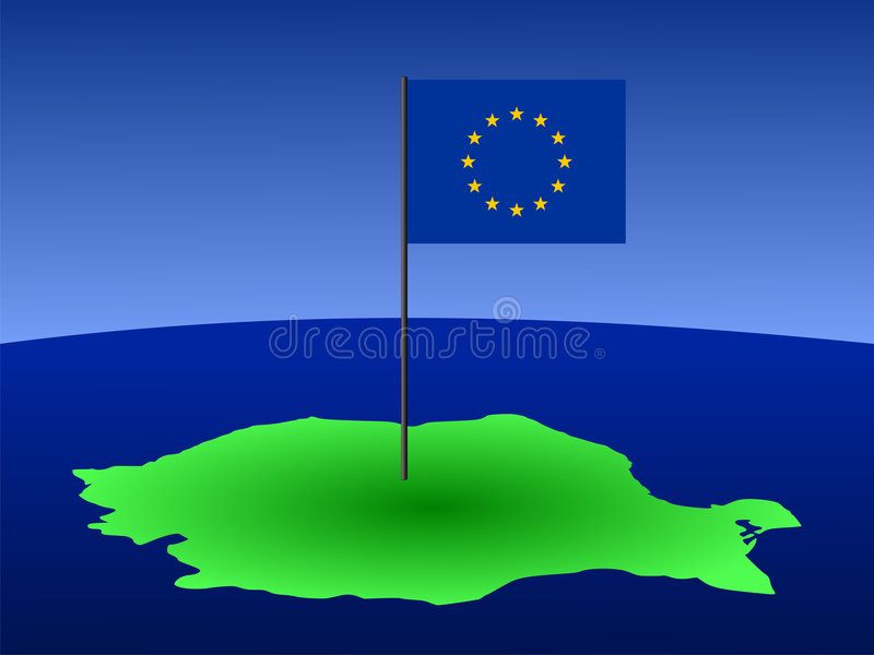 Karte von Rumänien mit Markierungsfahne stock abbildung