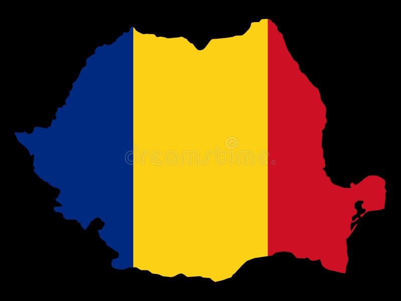 Karte von Rumänien und von rumänischer Markierungsfahne lizenzfreie abbildung