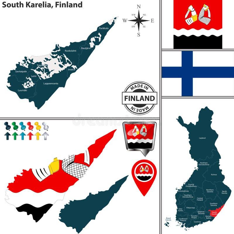 Karte von Süd-Karelien, Finnland lizenzfreie abbildung
