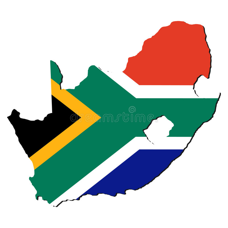 Karte von Südafrika lizenzfreie abbildung