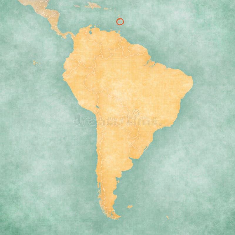 Karte von Südamerika - St. Lucia lizenzfreie abbildung