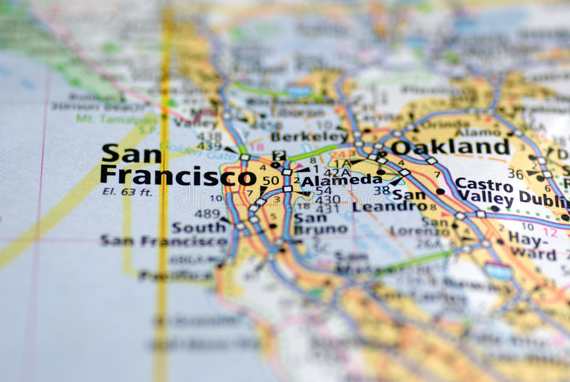 Karte von San Francisco lizenzfreies stockbild