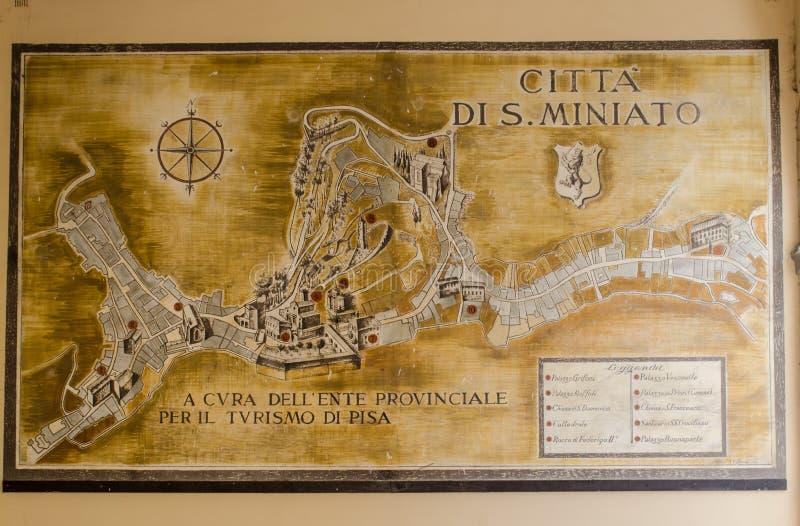 Karte von San Miniato, (Toskana) stockfotos