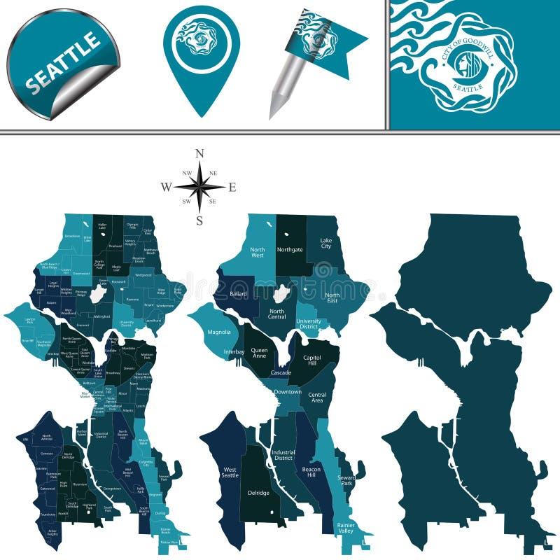 Karte von Seattle mit Bezirken vektor abbildung