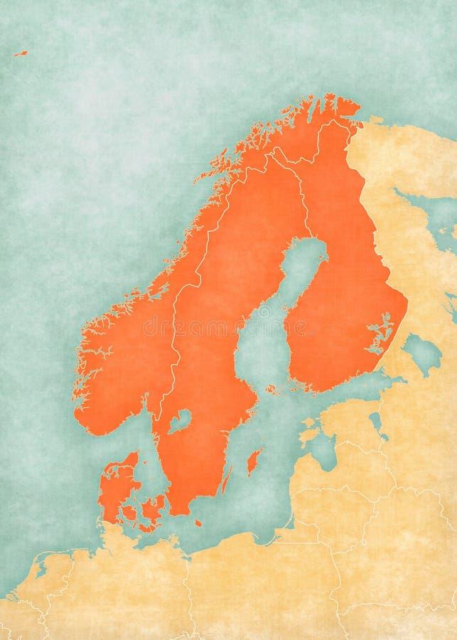 Karte Norwegen Dänemark.Karte Von Skandinavien Von Norwegen Von Schweden Von Dänemark