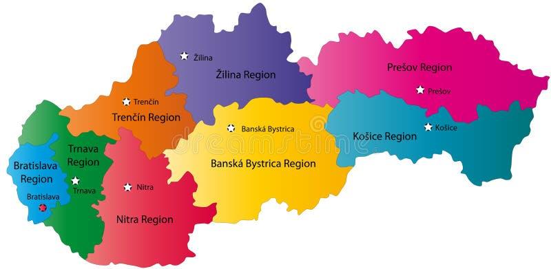 Karte von Slowakei lizenzfreie abbildung