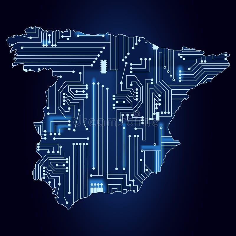 Karte Von Spanien Mit Elektronischer Schaltung Vektor Abbildung ...