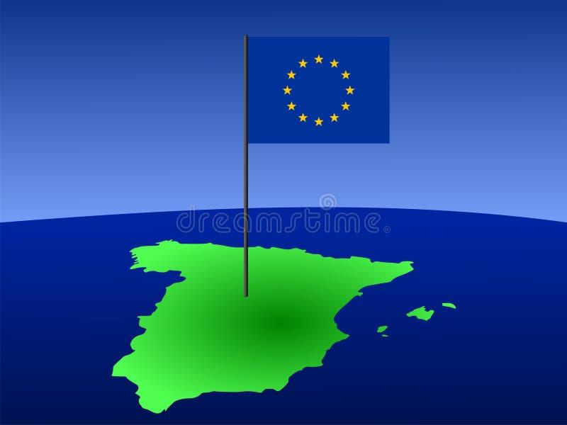 Karte von Spanien mit Markierungsfahne stock abbildung