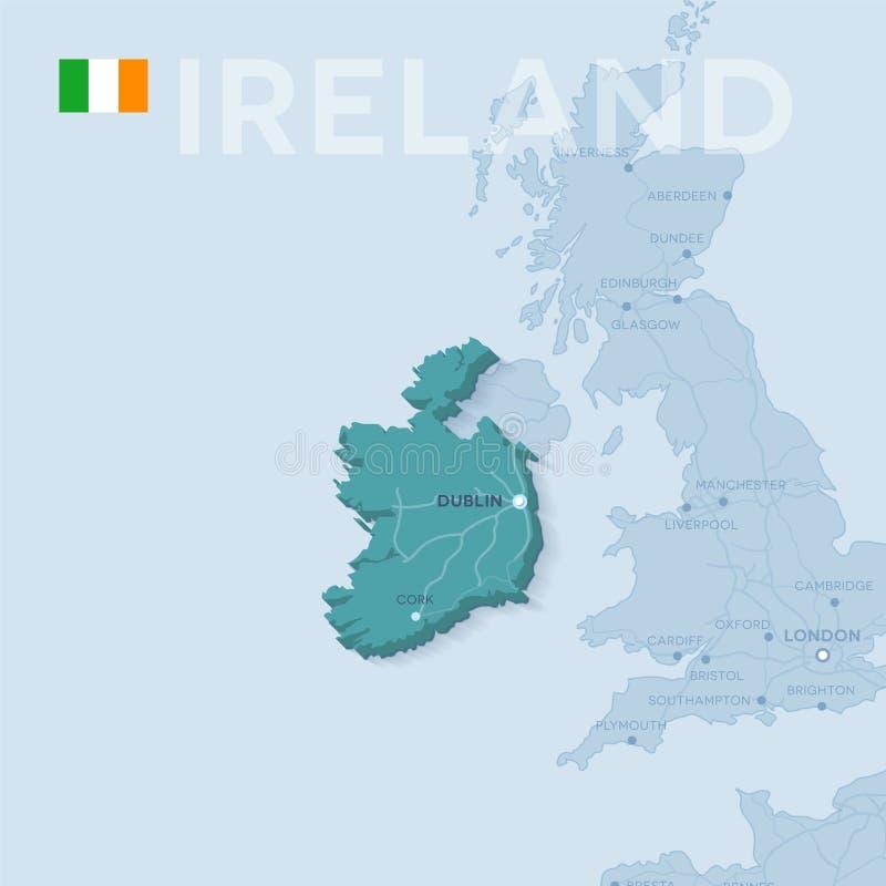 Karte von Städten und von Straßen in Irland stock abbildung