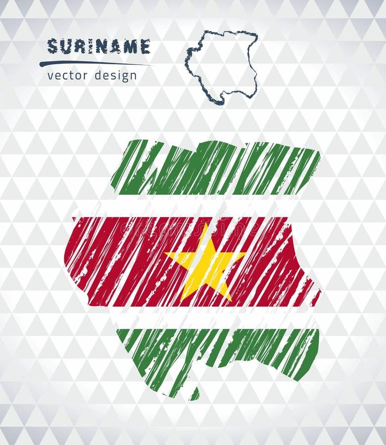 Karte von Surinam mit Hand gezeichneter Skizzenstiftkarte nach innen Auch im corel abgehobenen Betrag lizenzfreie abbildung