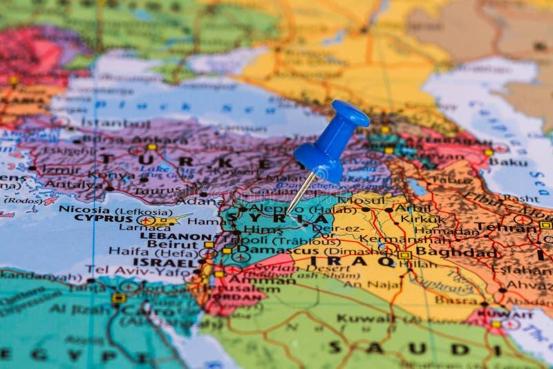 Karte von Syrien stockfotos