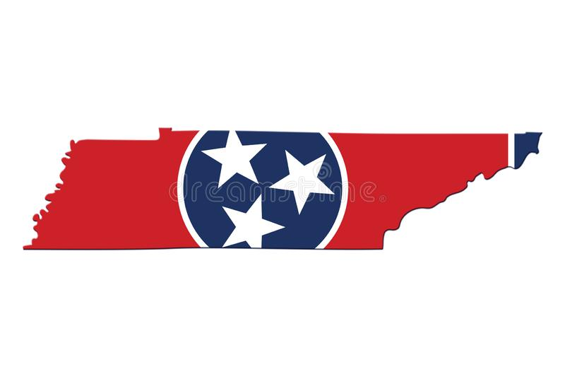 Karte von Tennessee in den Tennessee-Flaggenfarben vektor abbildung