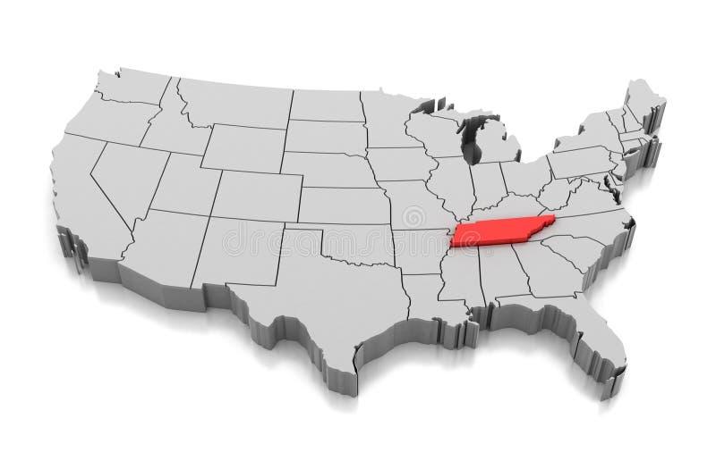 Karte von Tennessee-Staat, USA vektor abbildung