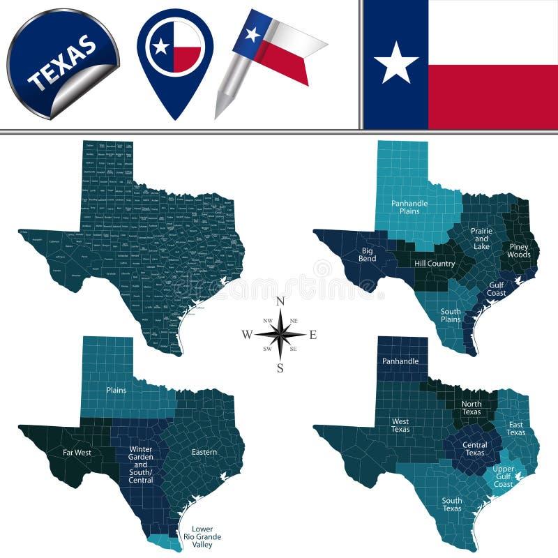 Karte von Texas mit Regionen stock abbildung