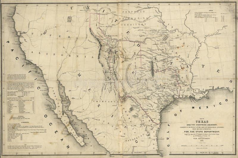 Karte von Texas und von Ländern angrenzendes 1844 stockfotos