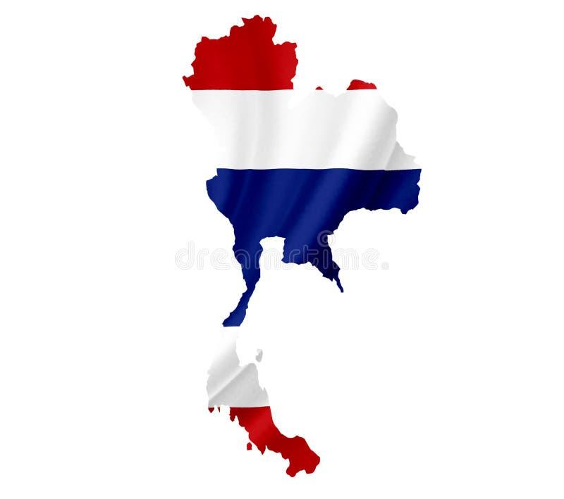 Karte von Thailand mit der wellenartig bewegenden Flagge lokalisiert auf Wei? stockbild