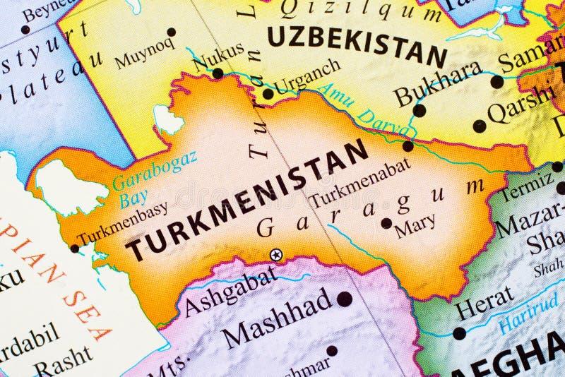 Karte von Turkmenistan stockbilder