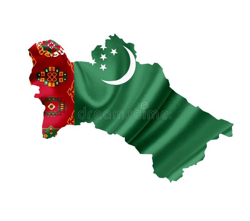 Karte von Turkmenistan mit der wellenartig bewegenden Flagge lokalisiert auf Wei? stockfoto