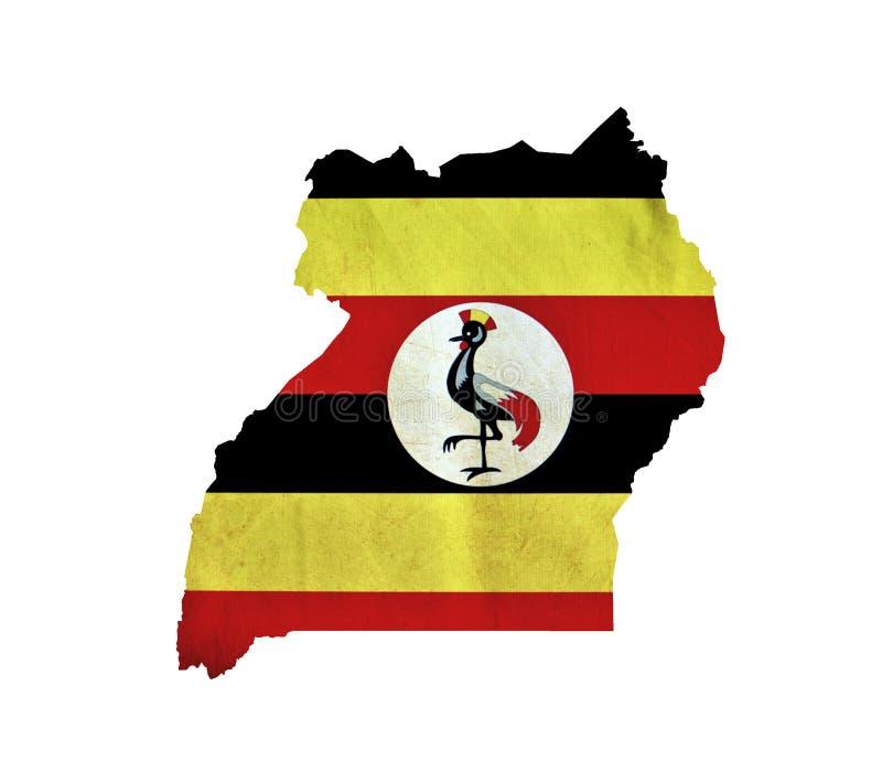 Karte von Uganda lokalisierte stockfotografie