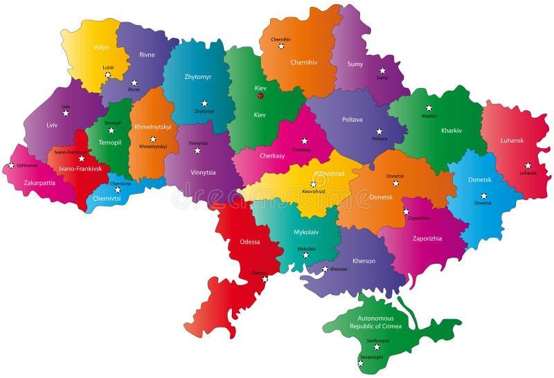 Karte von Ukraine   lizenzfreie abbildung