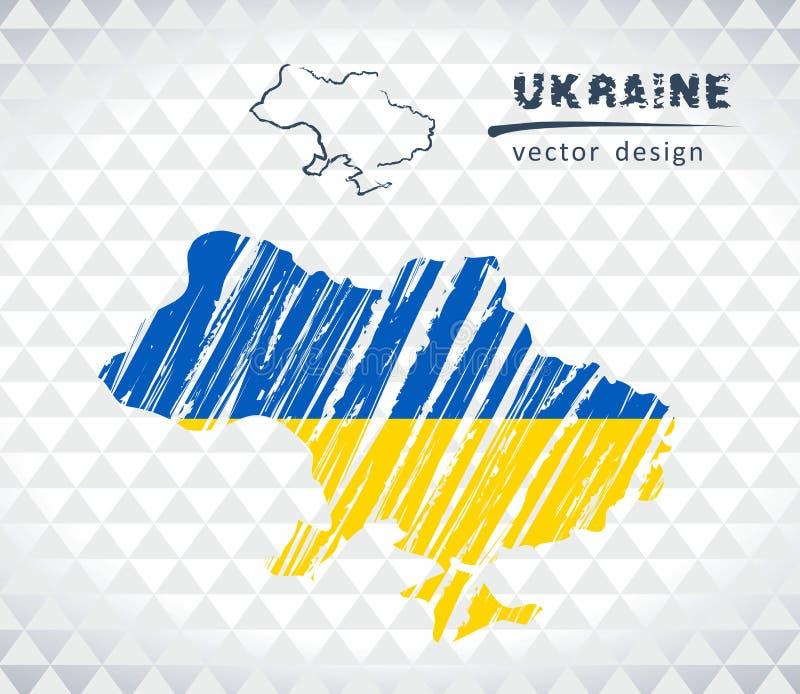 Karte von Ukraine mit Hand gezeichneter Übersichtskarte nach innen Auch im corel abgehobenen Betrag lizenzfreie abbildung