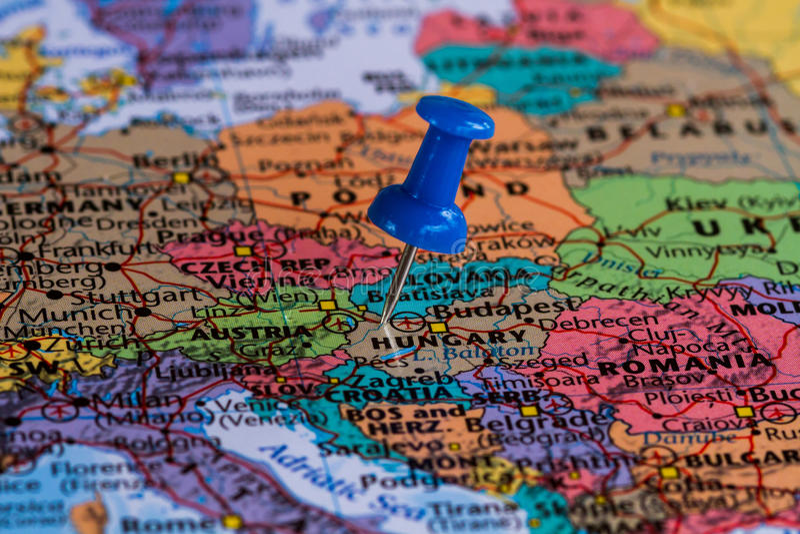 Karte von Ungarn stockbild