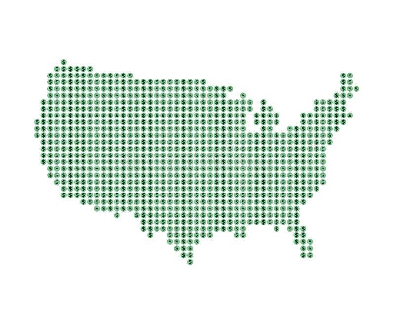 Karte von US mit grünen Punkten und Dollarzeichen lizenzfreie abbildung
