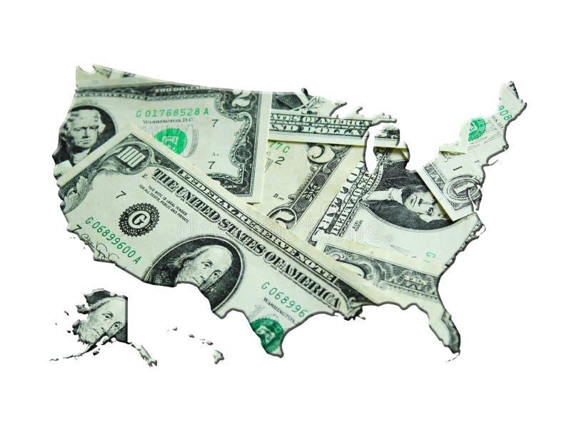 Karte von USA gemacht von den Dollar stockbild