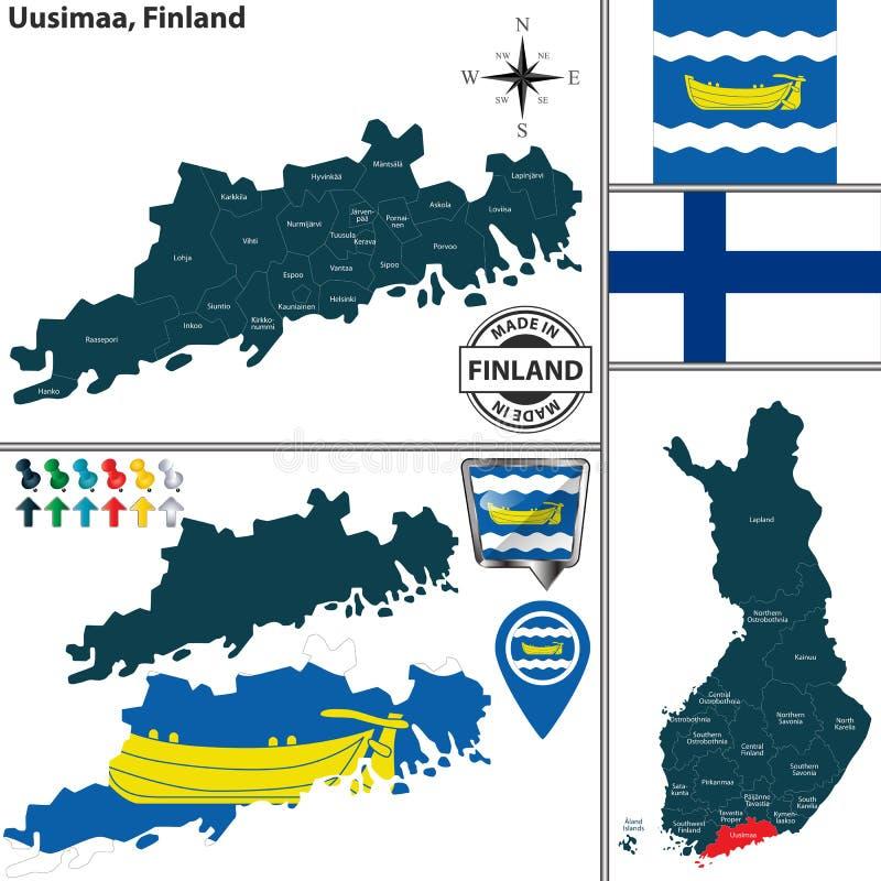 Karte von Uusimaa, Finnland vektor abbildung
