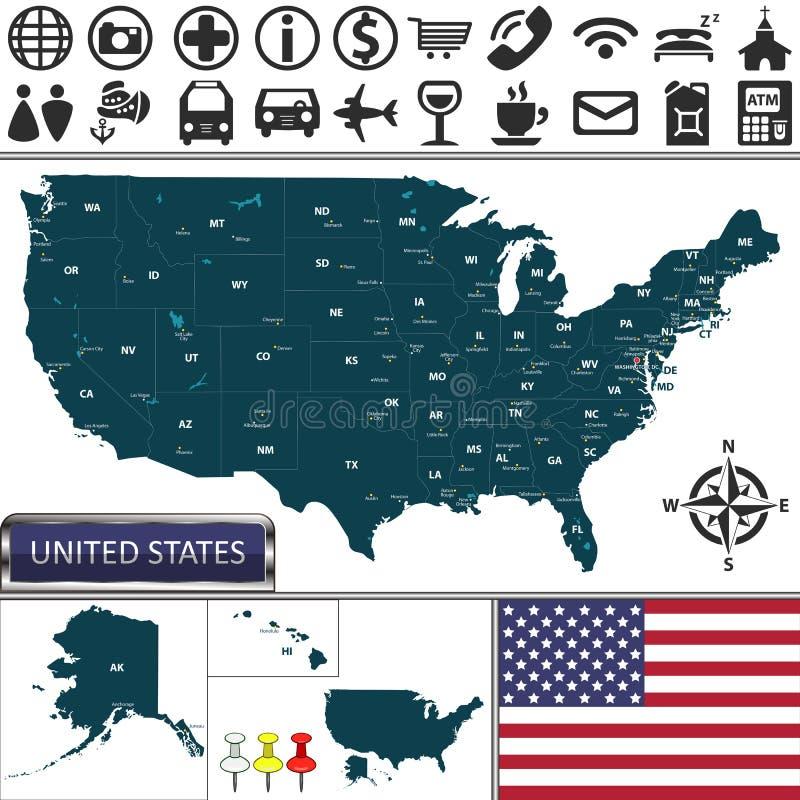 Karte von Vereinigten Staaten vektor abbildung