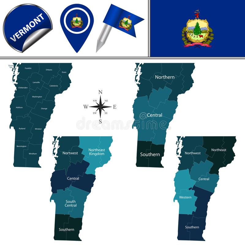 Karte von Vermont mit Regionen stock abbildung