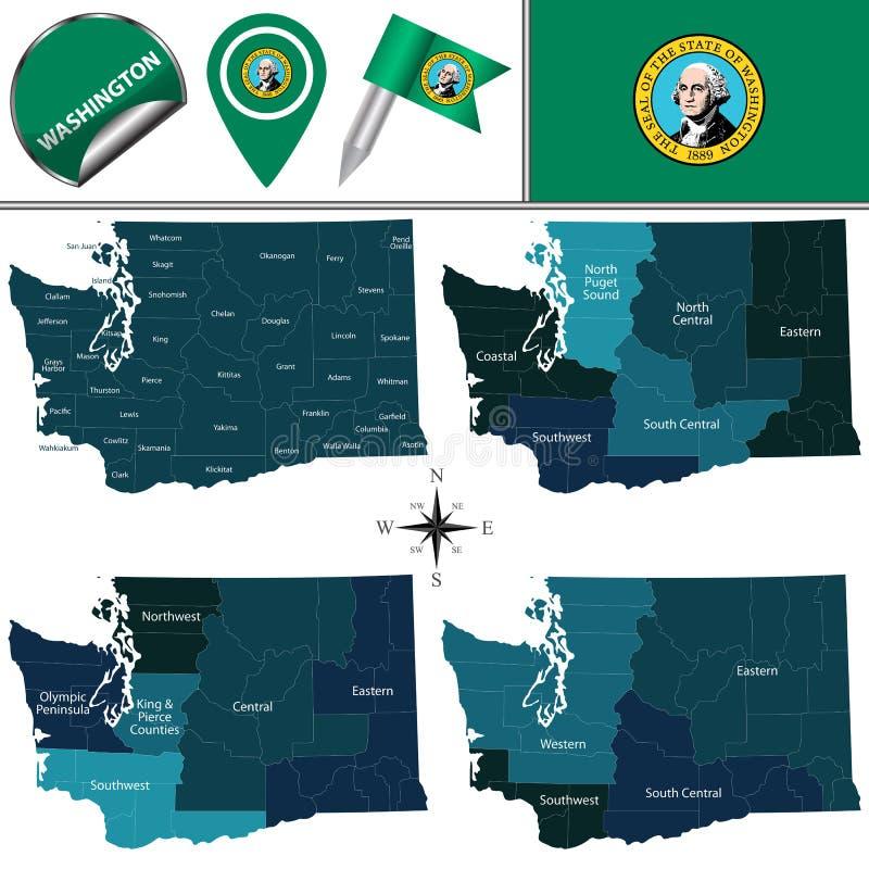 Karte von Washington mit Regionen lizenzfreie abbildung