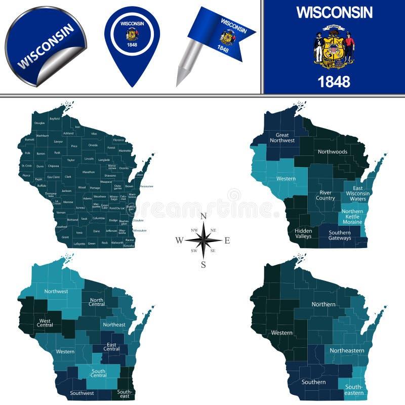 Karte von Wisconsin mit Regionen lizenzfreie abbildung