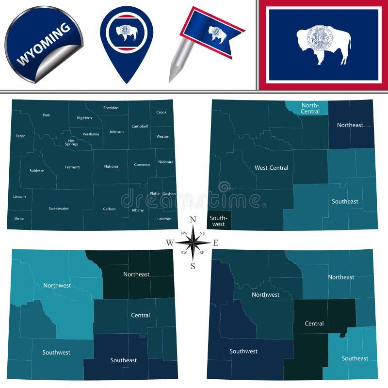 Karte von Wyoming mit Regionen vektor abbildung