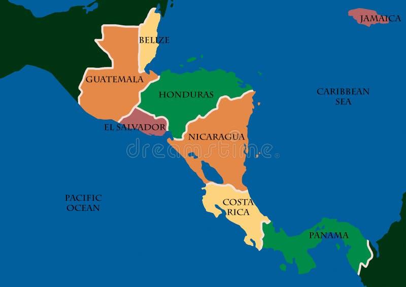 Karte von Zentralamerika stock abbildung