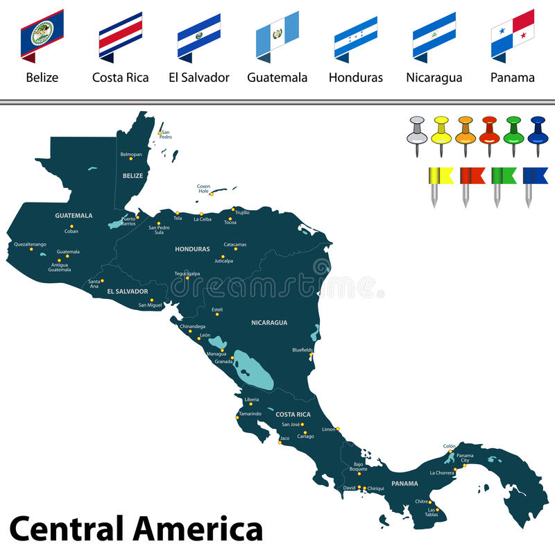 Karte von Zentralamerika lizenzfreie abbildung