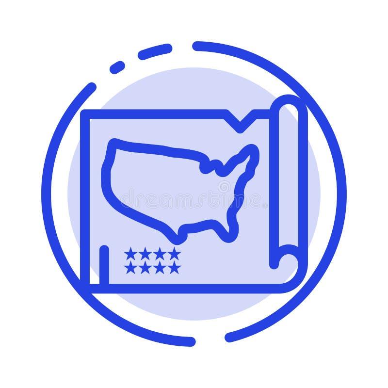 Karte, Zustände, vereinigt, Linie Ikone blauer punktierter Linie USA stock abbildung