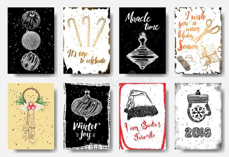 Kartek bożonarodzeniowych etykietki ustawiać, ręka rysujący styl Ja jest czasem celebrat ilustracji