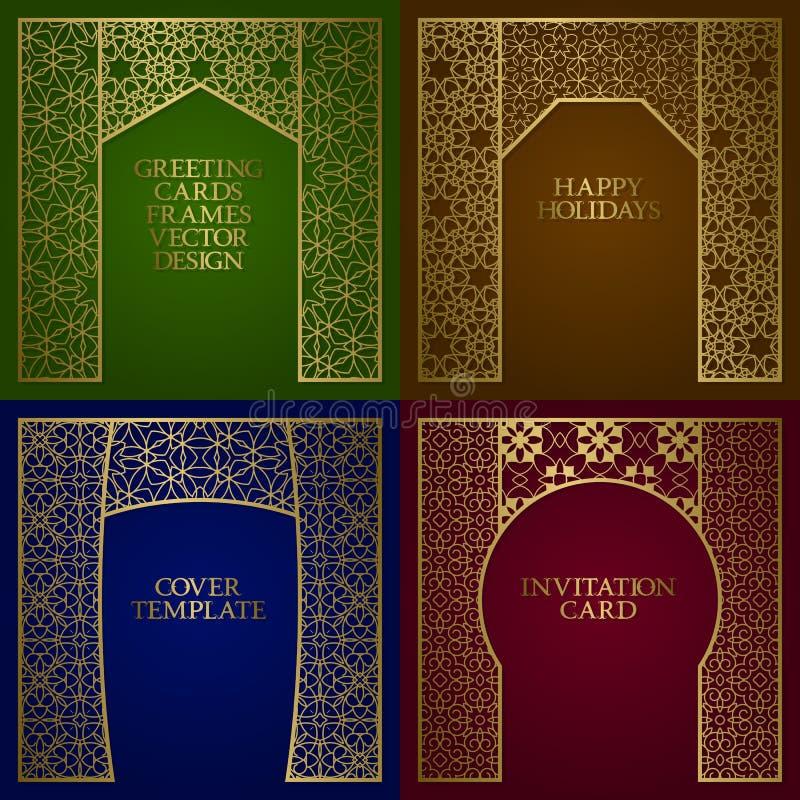 Kartek z pozdrowieniami złote ramy ustawiać Rocznika projekt szablon w azjaty stylu ilustracja wektor