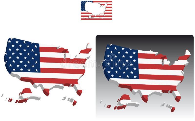 Karten 3D von Vereinigten Staaten Amerika stock abbildung