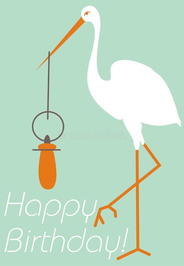 Karten-alles- Gute zum Geburtstagbaby Storch und Nippel vektor abbildung