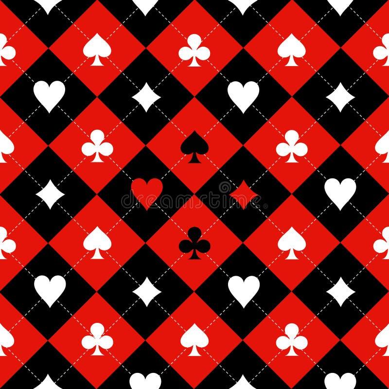 Karten-Anzugs-Schach-Brett-roter schwarzer weißer Hintergrund stock abbildung