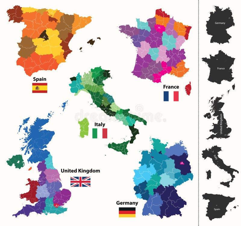 Karten der europäischen Länder lizenzfreie abbildung