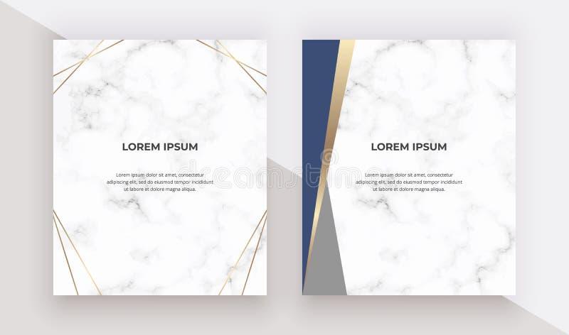 Karten des geometrischen Entwurfs mit Blau- und Golddreiecken auf der Marmorbeschaffenheit Moderne Schablonen für Heiratseinladun stock abbildung