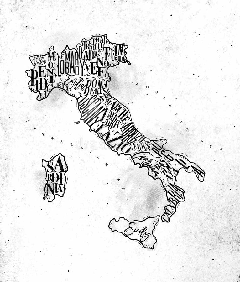 Karten-Italien-Weinlese lizenzfreie abbildung